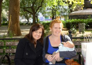 Aunt Cheryl, Henry and me in Union Square Park.