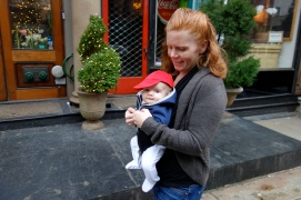 Henry steps out with mom on the way to purchase his first Christmas tree.