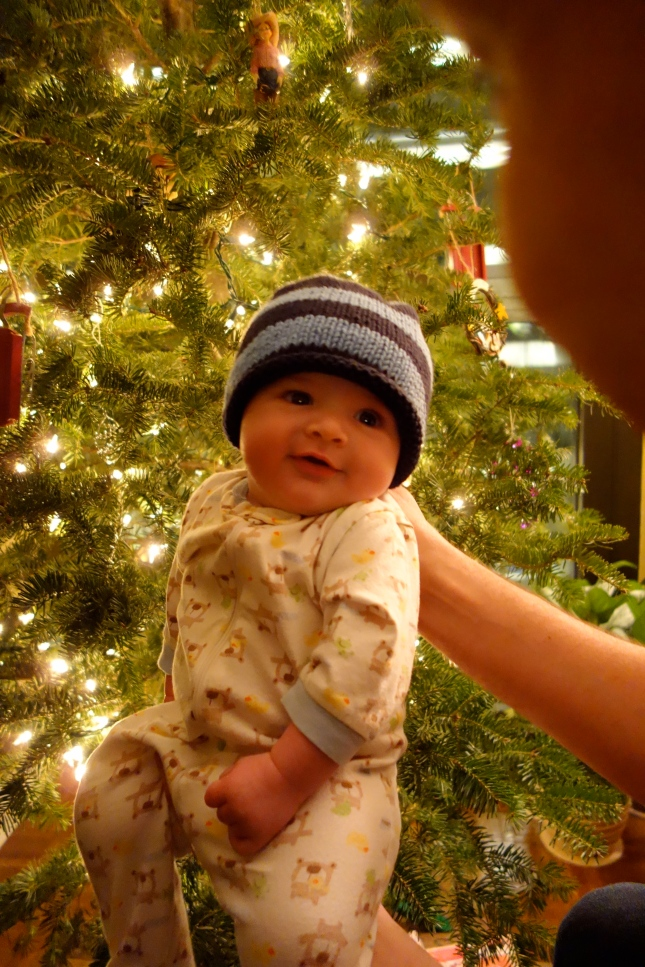 Henry poses in front of the tree wearing his new hat.
