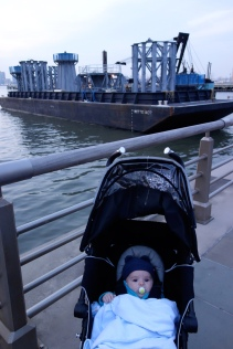 Henry near barge carrying 1WTC spire segments