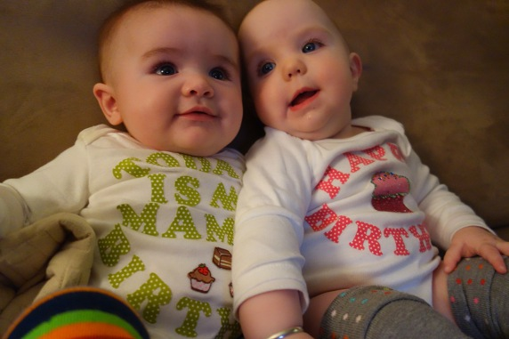 Aunt Juj made Henry and Mae onesies with customized birthday wishes for Jacqui.