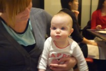 Aunt Juj and Cousin Mae enjoy table talk.