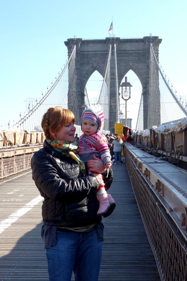 Julie and Mae on the Brooklyn Bridge.