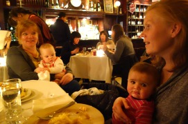 Julie, Mae, Jacqui and Henry at Les Halles Downtown for dinner.
