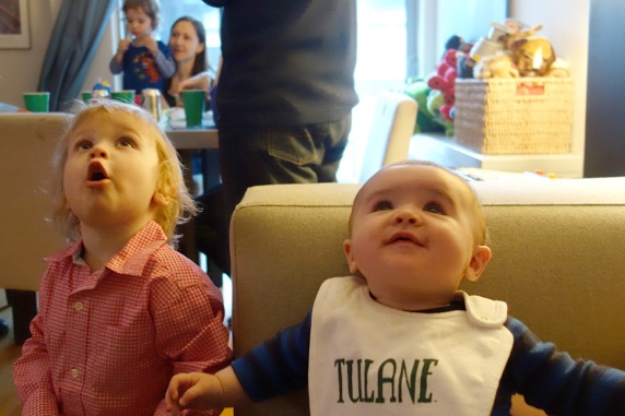 Gavin (birthday boy) and Henry are delighted by helium's properties.