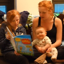 "Henry squirms while ""The Lorax"" is read."