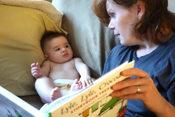 Mom reading Lyle, Lyle to Henry boy.