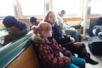 Kaylie and Ona on the Staten Island Ferry. Kaylie saw the Statue of Liberty for the first time.