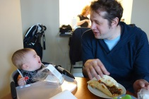 John enjoys lunch. Henry, not as much.