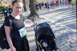 Mom and Henry in Central Park after the 10th annual Scotland Run 10K,