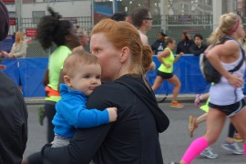 Henry and I watch the other runners at the end of the race.