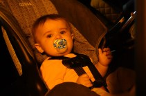 Henry's first time being strapped into a car seat. He did not like it very much.
