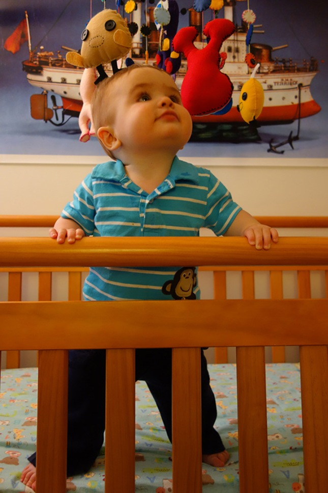 Henry stands in his crib for long periods of time. This is a relatively new activity that started last weekend.