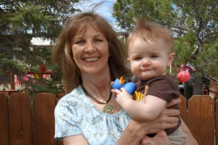 Henry with Grandma Kathy. Kathy and Terra were able to come to the party and meet Henry.