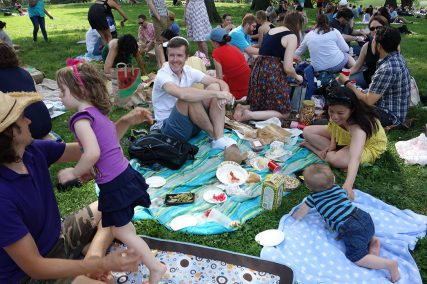 Henry enjoys the picnic.