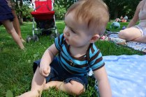 Henry in the grass in Central Park.