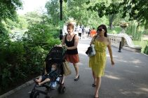 Henry, Jacqui and Mimi cross the Bow Bridge in Central Park.