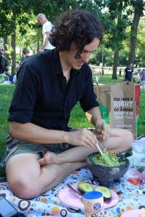 Aaron mixes up fresh guacamole.