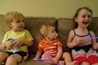 Henry enjoyed having some other kids visit. (l-r: Gavin, Henry and Sierra)