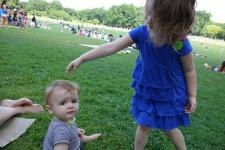 Henry learns to take a joke as Sierra sprinkles grass on his head.