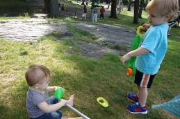 Gavin and Henry work on their golf game.