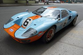 Ford GT40 Gulf / Mirage Racing Car parked on Hudson St. Kinda like seeing a life-sized Matchbox car parked in the neighborhood.