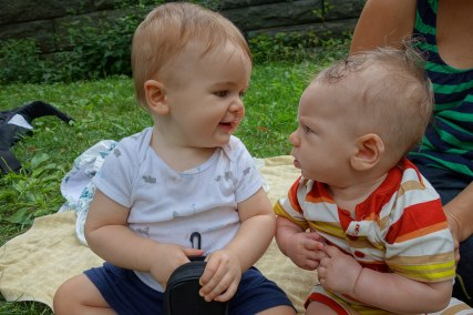 Henry and Hudson have a baby conversation.