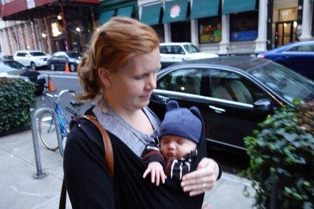 Henry and mom walking in the neighborhood.