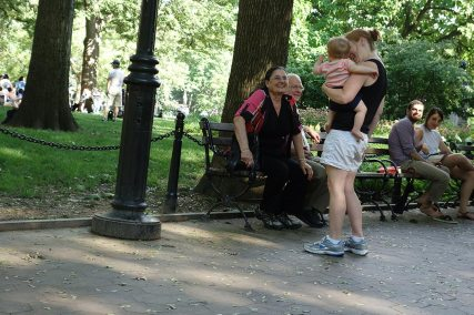 Henry and I visit with a nice older couple in Washington Square Park. The woman said that seeing Henry made her miss her grandkids.