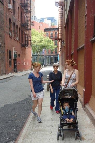 Taking a shortcut through Staple Street alley.