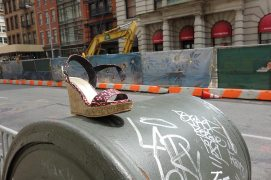 Abandoned platform heel on Hudson St. in Tribeca (dedicated to Trix).