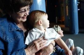 Sitting on Grandma Lois' lap.