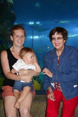 Jacqui, Henry and Grandma Lois at the Aquarium.