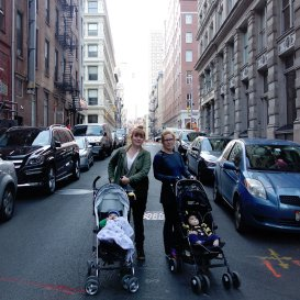A Sunday afternoon stroll. Julie and me on Franklin Street with the babes.