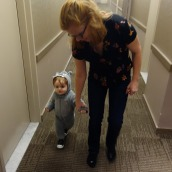 Henry on his way down the hall to trick or treat.