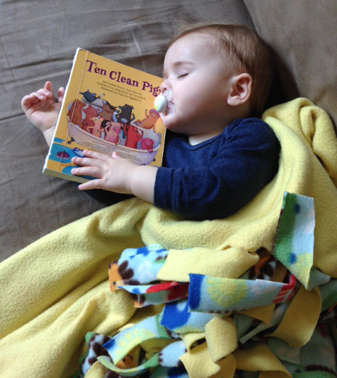 Mid-morning book nap.