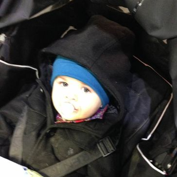 Henry in his stroller on the tram.