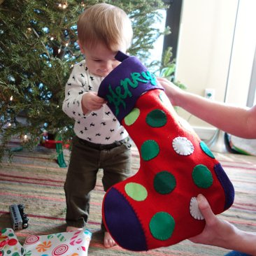 Getting his stocking.