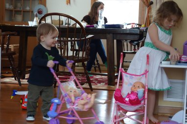 Henry and Madison had fun racing strollers.