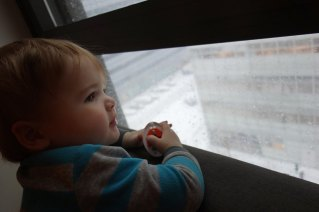 Looking out the window at the slush.