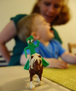 Gumby (not on Pokey) in foreground; Jacqui, Henry in background