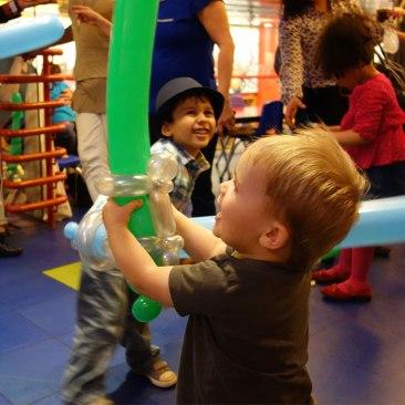 Balloon swordplay.