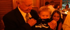 "Henry's gift from Michelle and Tyler, a t-shirt that says, ""Perfectly Picked Ring Bearer."""
