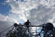 Gabe climbs the net at Pier 25.