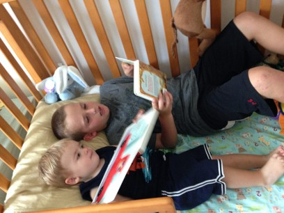 Gabe reads to Henry.