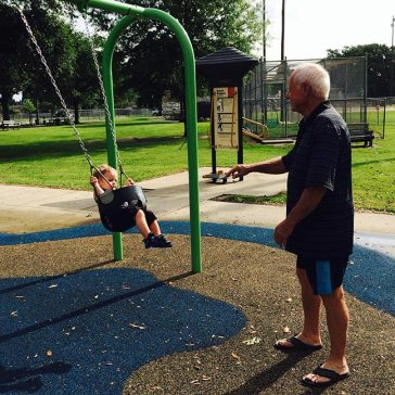 Getting a push from Paw Paw.