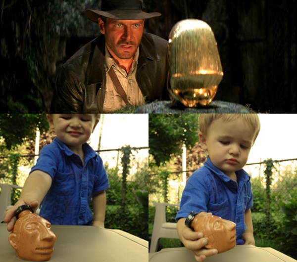 Henry discovers the forbidden ceramic idol filled with tequila.