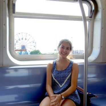 Shannon on the Q train.