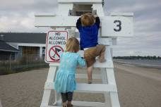 Climbing the lifeguard stand