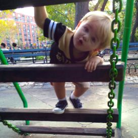 Silly boy climbing